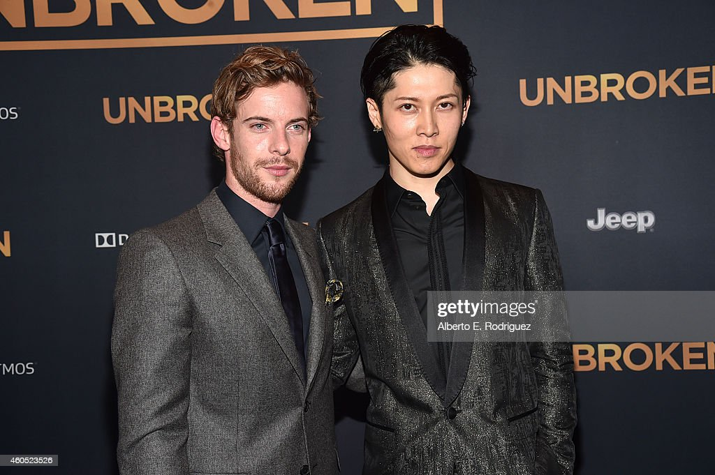 Actors Luke Treadaway and Miyavi attend the premiere of Universal Studios' 'Unbroken' at TCL Chinese Theatre on December 15 2014 in Hollywood...