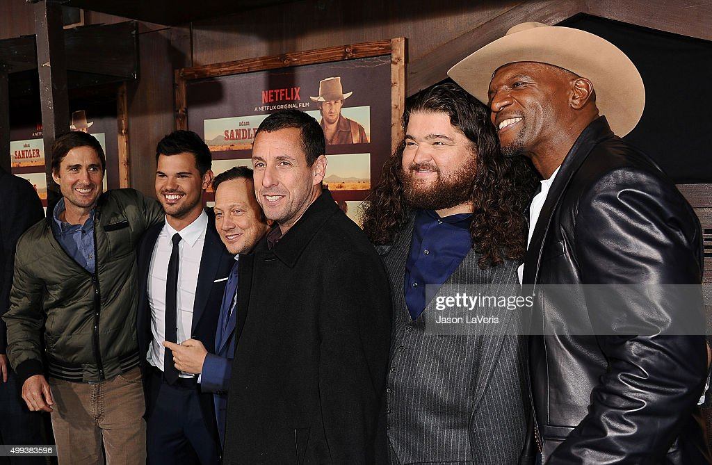 Actors Luke Wilson, Taylor Lautner, Rob Schneider, Adam Sandler, Jorge Garcia and Terry Crews attend the premiere of 'The Ridiculous 6' at AMC Universal City Walk on November 30, 2015 in Universal City, California.