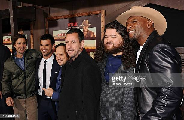 Actors Luke Wilson Taylor Lautner Rob Schneider Adam Sandler Jorge Garcia and Terry Crews attend the premiere of 'The Ridiculous 6' at AMC Universal...