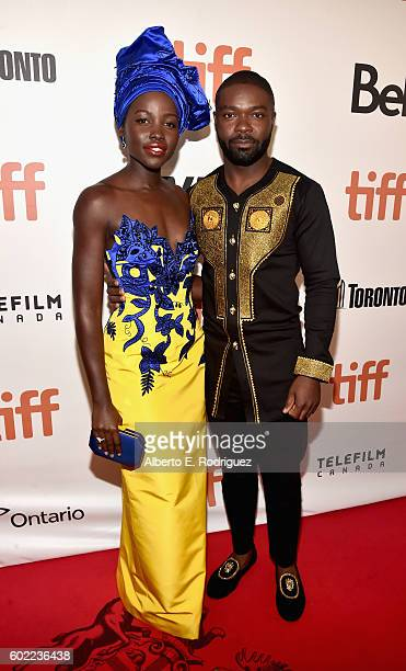 "Actors Lupita Nyong'o and David Oyelowo arrive at the world premiere of Disney's ""Queen of Katwe"" at Roy Thompson Hall as part of the 2016 Toronto..."