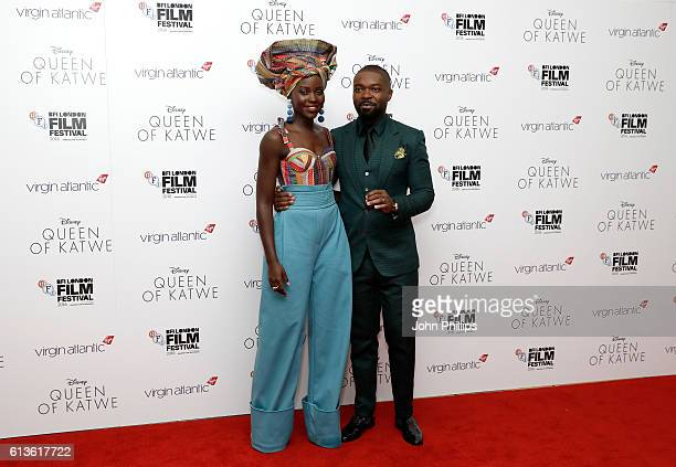 Actors Lupita Nyong'o and David Oyelowo attend the 'Queen Of Katwe' Virgin Atlantic Gala screening during the 60th BFI London Film Festival at Odeon...