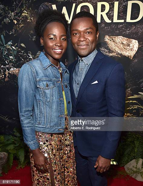 Actors Lupita Nyong'o and David Oyelowo attend The World Premiere of Disney's 'THE JUNGLE BOOK' at the El Capitan Theatre on April 4 2016 in...
