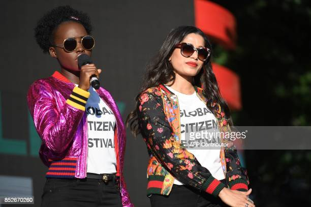 Actors Lupita Nyong'o and Freida Pinto speak onstage during the 2017 Global Citizen Festival For Freedom For Justice For All in Central Park on...