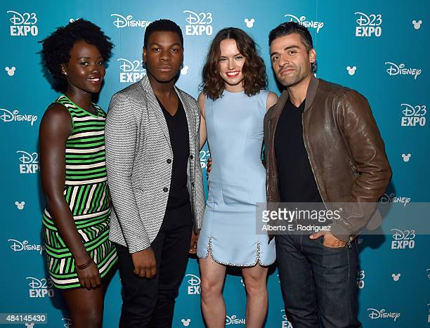 Actors Lupita Nyong'o John Boyega Daisy Ridley and Oscar Isaac of STAR WARS THE FORCE AWAKENS took part today in 'Worlds Galaxies and Universes Live...