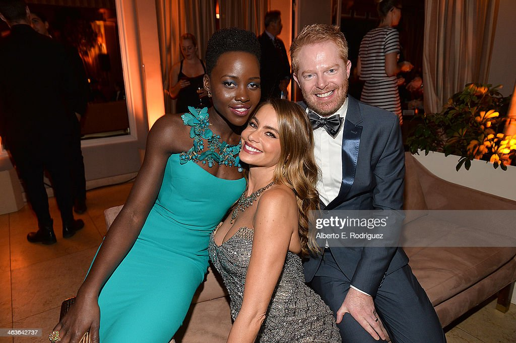 Actors <a gi-track='captionPersonalityLinkClicked' href=/galleries/search?phrase=Lupita+Nyong%27o&family=editorial&specificpeople=10961876 ng-click='$event.stopPropagation()'>Lupita Nyong'o</a>, <a gi-track='captionPersonalityLinkClicked' href=/galleries/search?phrase=Sofia+Vergara&family=editorial&specificpeople=214702 ng-click='$event.stopPropagation()'>Sofia Vergara</a>, and <a gi-track='captionPersonalityLinkClicked' href=/galleries/search?phrase=Jesse+Tyler+Ferguson&family=editorial&specificpeople=633114 ng-click='$event.stopPropagation()'>Jesse Tyler Ferguson</a> attend the Weinstein Company & Netflix's 2014 SAG after party in partnership with Laura Mercier at Sunset Tower on January 18, 2014 in West Hollywood, California.