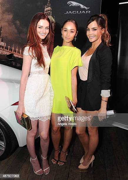 Actors Lydia Hearst Cara Santana and Jillian Murray attended the Jaguar and BritWeek Event A Villainous Affair at The London West Hollywood on May 2...