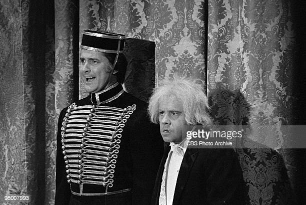 Actors Lyle Waggoner and Tim Conway perform in a scene from 'The Carol Burnett Show' which was filmed on January 12 1973 in Los Angeles California