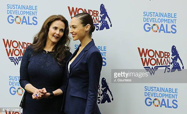 Actors Lynda Carter and Gal Gadot attend the Wonder Woman UN Ambassador Ceremony at United Nations on October 21 2016 in New York City