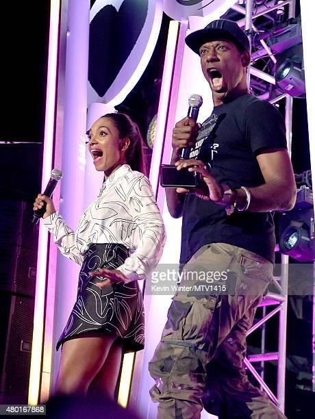 Actors Lyndie Greenwood and Orlando Jones speak onstage during the MTV Fandom Fest San Diego ComicCon at PETCO Park on July 9 2015 in San Diego...