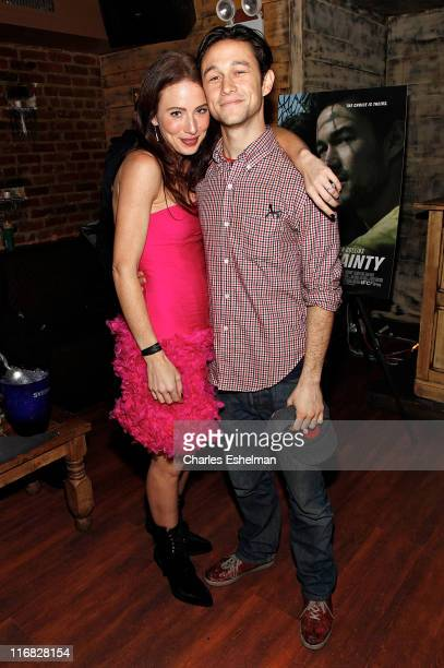 Actors Lynn Collins and Joseph GordonLevitt attend the 'Uncertainty' premiere after party at Su Casa on November 13 2009 in New York City