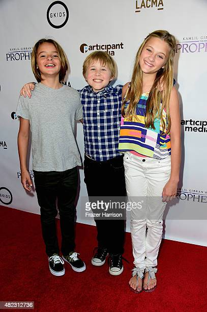 Actors Mace CoronelCasey SimpsonLizzy Greene arrive at the Screening of GKIDS' 'Kahlil Gibran's The Prophet' at Bing Theatre At LACMA on July 29 2015...