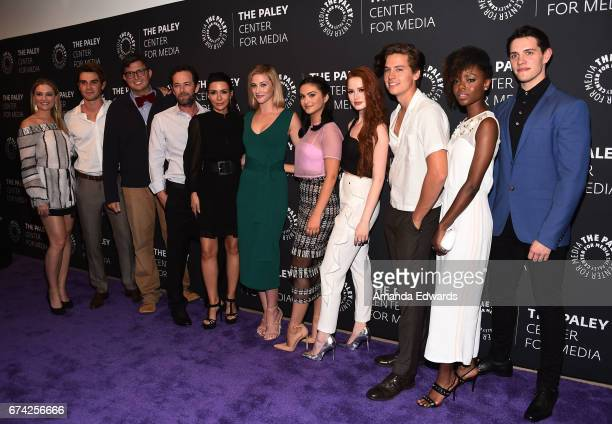 Actors Madchen Amick and KJ Apa execuive producer Roberto AguirreSacasa and actors Luke Perry Marisol Nichols Lili Reinhart Camila Mendes Madelaine...