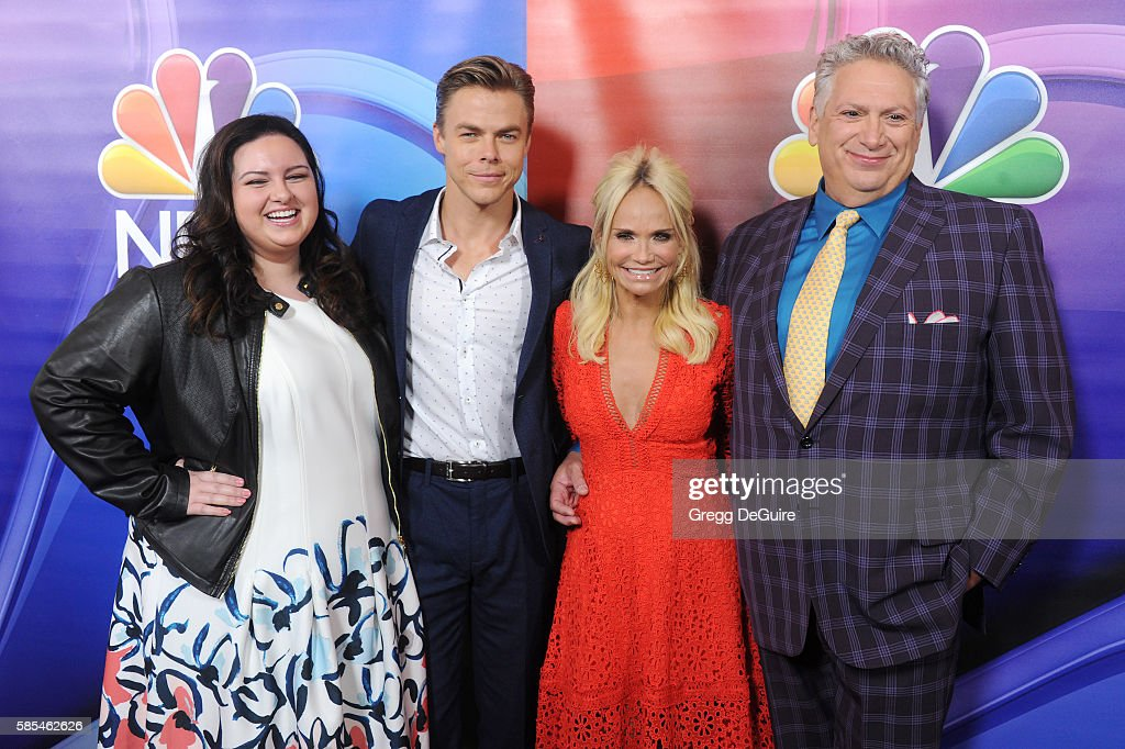 Actors Maddie Baillio Derek Hough Kristin Chenoweth and Harvey Fierstein arrive at the 2016 Summer TCA Tour NBCUniversal Press Tour Day 1 at The...