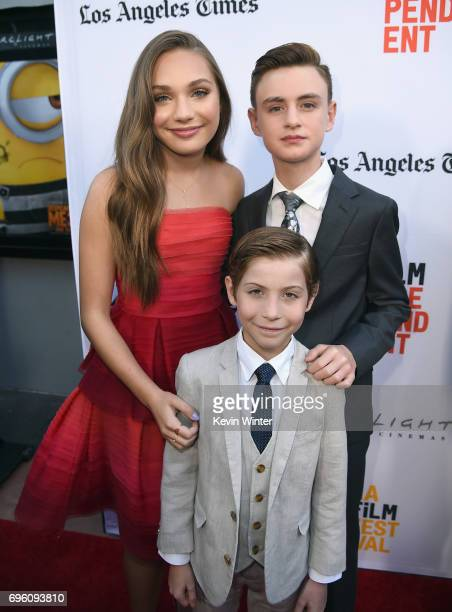 Actors Maddie Ziegler Jacob Tremblay and Jaeden Lieberher attend the opening night premiere of Focus Features' 'The Book of Henry' during the 2017...