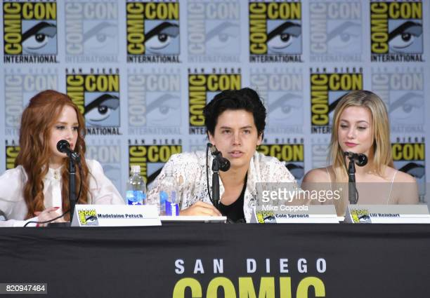 Actors Madelaine Petsch Cole Sprouse and Lili Reinhart speak onstage at 'Riverdale' special video presentation and QA during ComicCon International...