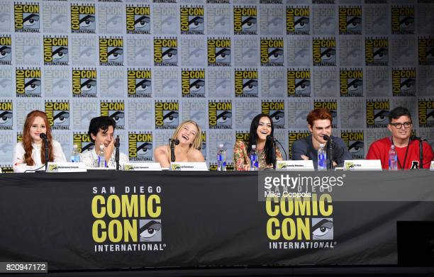 Actors Madelaine Petsch Cole Sprouse Lili Reinhart KJ Apa and Camila Mendes and writer Roberto AguirreSacasa speak onstage at 'Riverdale' special...