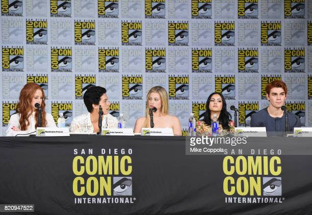 Actors Madelaine Petsch Cole Sprouse Lili Reinhart KJ Apa and Camila Mendes speak onstage at 'Riverdale' special video presentation and QA during...