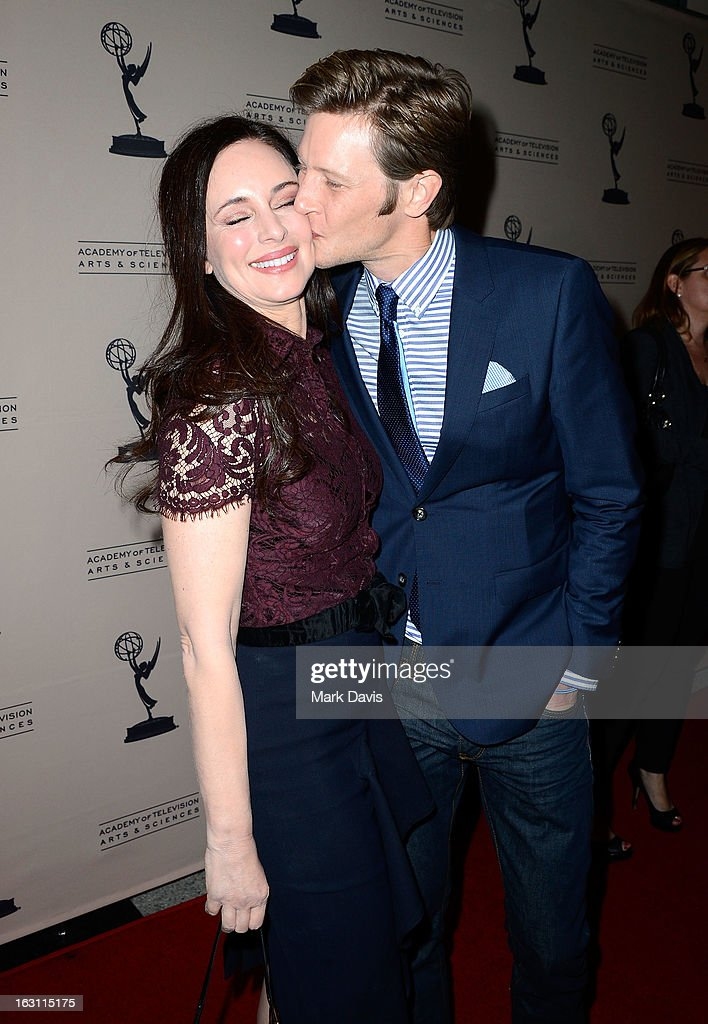 Actors Madeleine Stowe (L) and Gabriel Mann share a moment at the Academy of Television Arts & Sciences Presents An Evening With 'Revenge' at the Leonard H. Goldenson Theater held at the Academy of Television Arts & Sciences on March 4, 2013 in North Hollywood, California.