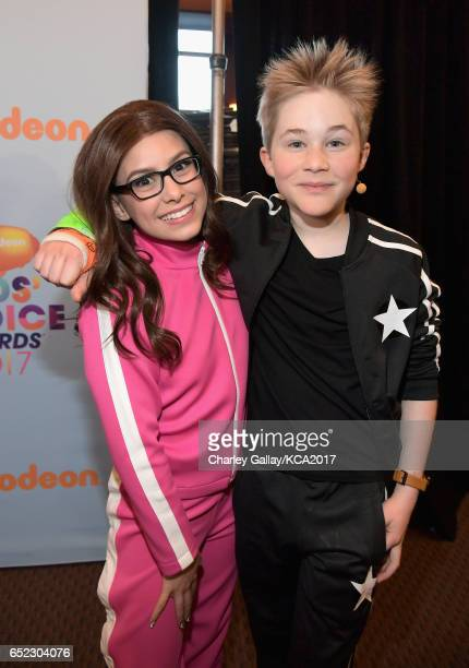 Actors Madisyn Shipman and Casey Simpson in the green room at Nickelodeon's 2017 Kids' Choice Awards at USC Galen Center on March 11 2017 in Los...