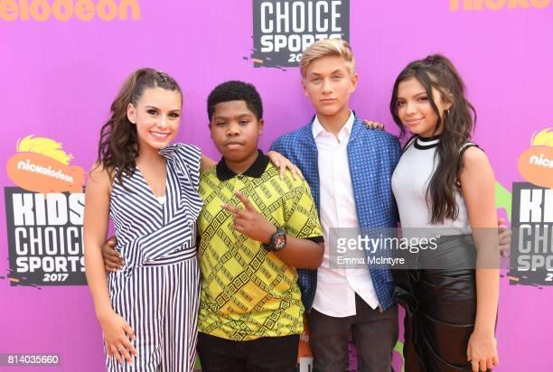 Actors Madisyn Shipman Benjamin Flores Jr Thomas Kuc and Cree Cicchino attend Nickelodeon Kids' Choice Sports Awards 2017 at Pauley Pavilion on July...