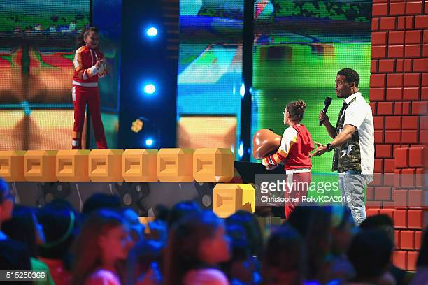 Actors Madisyn Shipman Cree Cicchino and Kel Mitchell speak onstage during Nickelodeon's 2016 Kids' Choice Awards at The Forum on March 12 2016 in...