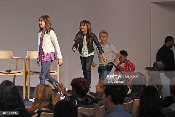 Actors Madisyn Shipman Cree Cicchino Thomas Kuc and Benjamin Flores Jr speak at the event Meet the Cast 'Nickelodeon's Game Shakers' at the Apple...