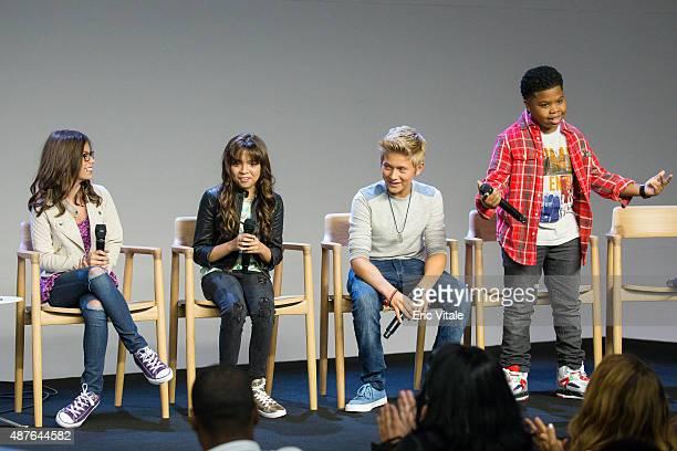 Actors Madisyn Shipman Cree Cicchino Thomas Kuc and Benjamin Flores Jr speak at the Apple Store Soho Presents Meet the Cast 'Nickelodeon's Game...