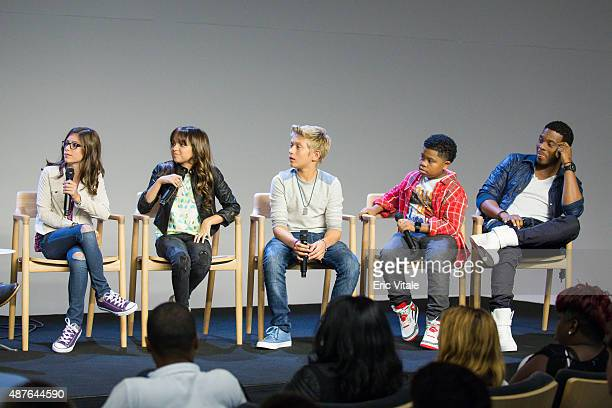 Actors Madisyn Shipman Cree Cicchino Thomas Kuc Benjamin Flores Jr and Kel Mitchell speak at the Apple Store Soho Presents Meet the Cast...