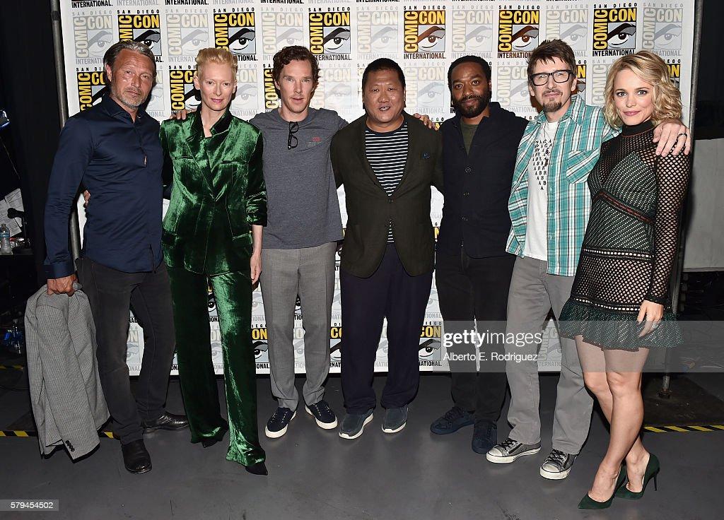 Actors Mads Mikkelsen Tilda Swinton Benedict Cumberbatch Benedict Wong Chiwetel Ejiofor director Scott Derrickson and actress Rachel McAdams from...