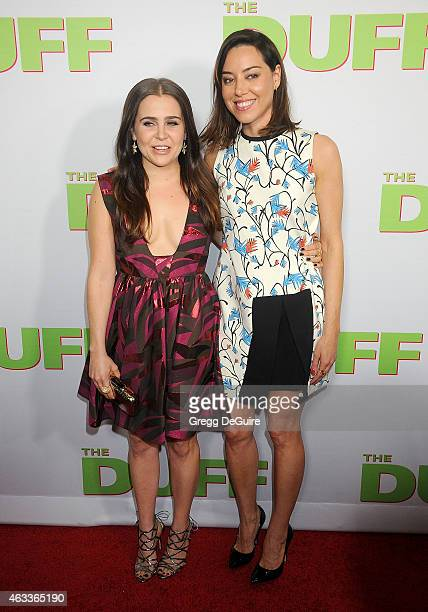 Actors Mae Whitman and Aubrey Plaza arrive at the Los Angeles screening of 'The Duff' at TCL Chinese 6 Theatres on February 12 2015 in Hollywood...