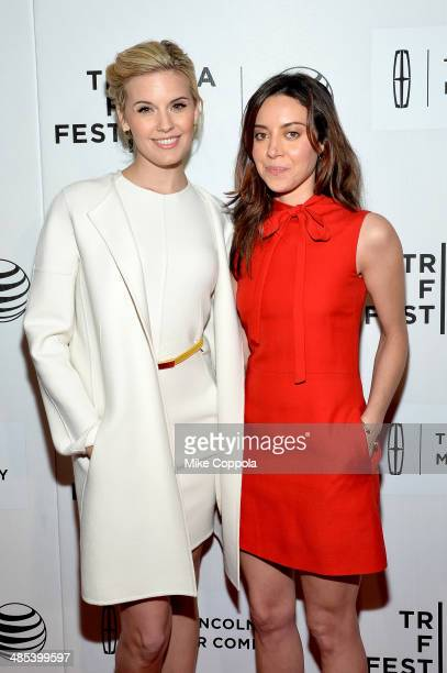Actors Maggie Grace and Aubrey Plaza attend the 'About Alex' Premiere during the 2014 Tribeca Film Festival at BMCC Tribeca PAC on April 17 2014 in...