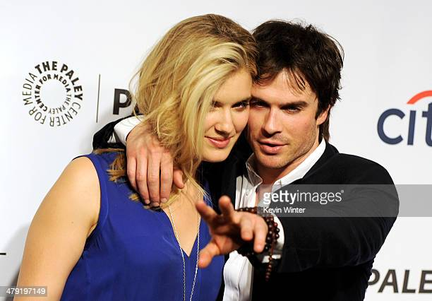 Actors Maggie Grace and Ian Somerhalder arrive at The Paley Center Media's PaleyFest 2014 Honoring 'Lost' 10th Anniversary Reunion at the Dolby...