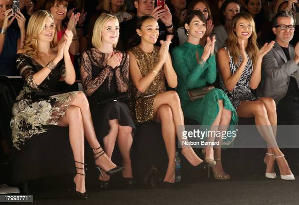 Actors Maggie Grace Jena Malone Ashley Madekwe Emmy Rossum and Stacy Keibler attend the Monique Lhuillier fashion show during MercedesBenz Fashion...