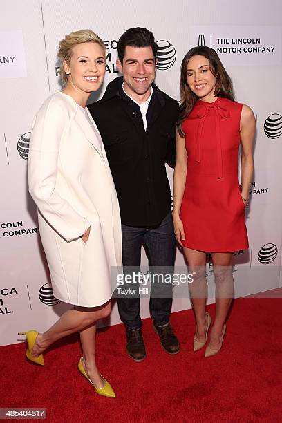 Actors Maggie Grace Max Greenfield and Aubrey Plaza attend 'About Alex' screening during the 2014 Tribeca Film Festival at BMCC Tribeca PAC on April...
