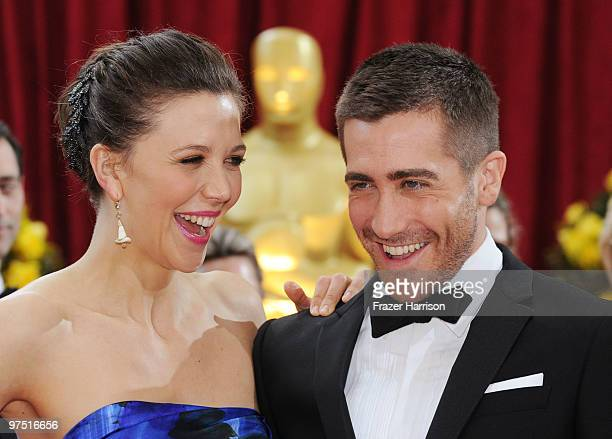 Actors Maggie Gyllenhaal and Jake Gyllenhaal arrive at the 82nd Annual Academy Awards held at Kodak Theatre on March 7 2010 in Hollywood California