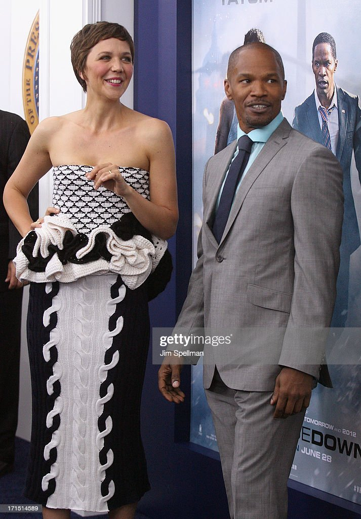 Actors Maggie Gyllenhaal and Jamie Foxx attend 'White House Down' New York Premiere at Ziegfeld Theater on June 25, 2013 in New York City.