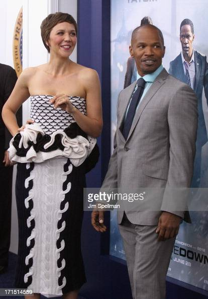 Actors Maggie Gyllenhaal and Jamie Foxx attend 'White House Down' New York Premiere at Ziegfeld Theater on June 25 2013 in New York City