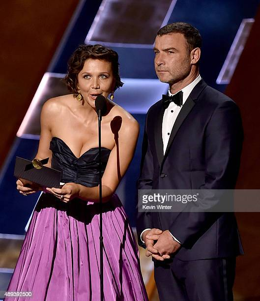 Actors Maggie Gyllenhaal and Liev Schreiber speak onstage during the 67th Annual Primetime Emmy Awards at Microsoft Theater on September 20 2015 in...