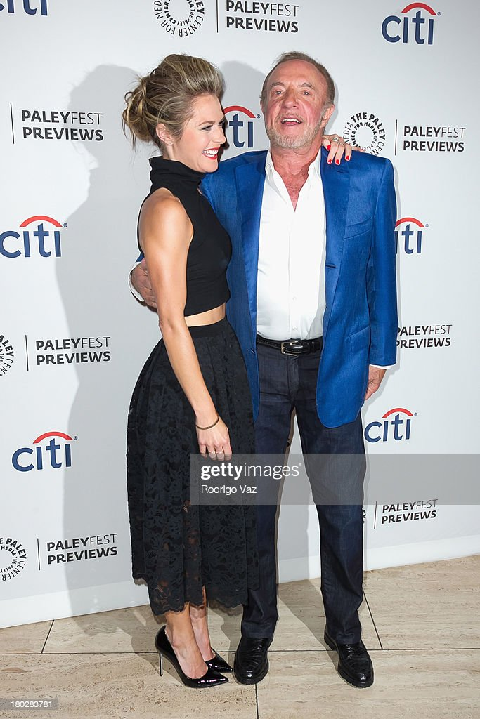 Actors Maggie Lawson (L) and James Caan arrive at PaleyFestPreviews Fall TV ABC's 'Trophy Wife' And 'Back In The Game' at The Paley Center for Media on September 10, 2013 in Beverly Hills, California.