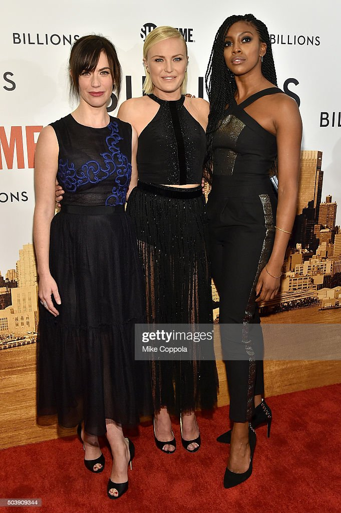 Actors Maggie Siff Malin Akerman and Condola Rashad attend the Showtime series premiere of 'Billions' at The New York Museum Of Modern Art on January...