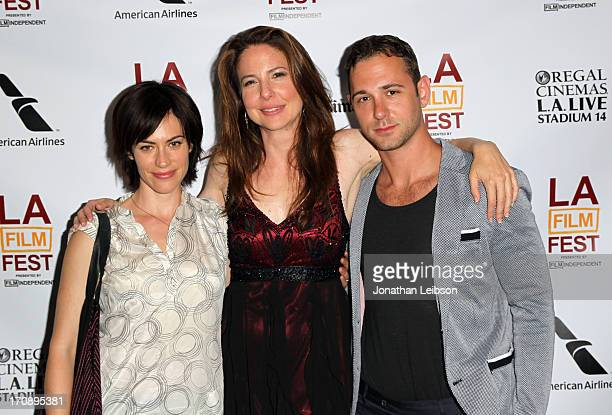 Actors Maggie Siff Robin Weigert and Johnathan Tchaikovsky attend the 'Concussion' premiere during the 2013 Los Angeles Film Festival at Regal...