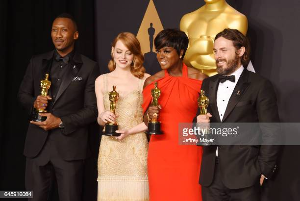 Actors Mahersala Ali winner of the award for Actor in a Supporting Role for 'Moonlight' Emma Stone winner of the award for Actress in a Leading Role...