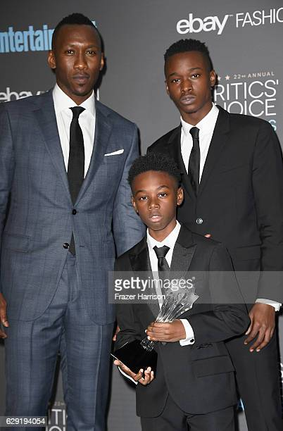 Actors Mahershala Ali Alex R Hibbert and Ashton Sanders winners of Best Acting Ensemble for 'Moonlight' pose in the press room during The 22nd Annual...