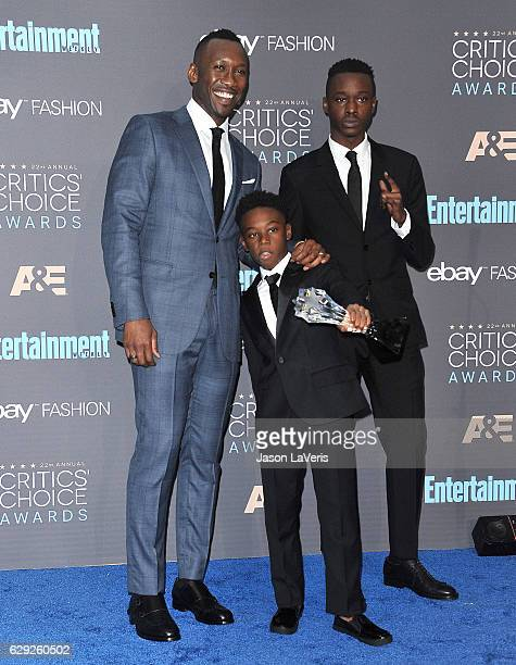 Actors Mahershala Ali Alex R Hibbert and Ashton Sanders winners of Best Acting Ensemble for 'Moonlight' pose in the press room at the 22nd annual...