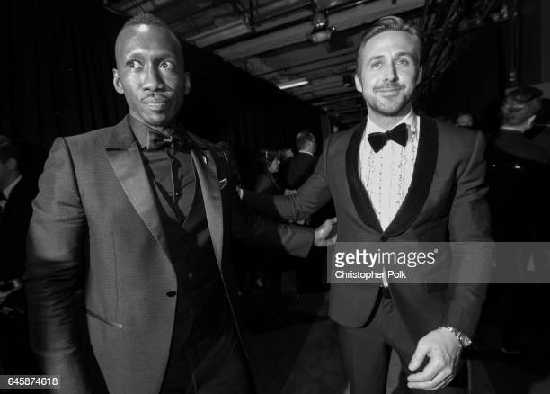 Actors Mahershala Ali and Ryan Gosling backstage during the 89th Annual Academy Awards at Hollywood Highland Center on February 26 2017 in Hollywood...