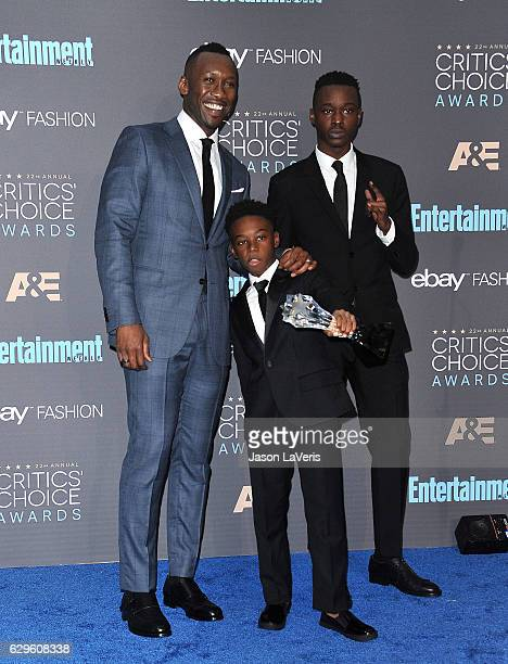Actors Mahershala Ali Ashton Sanders and Alex R Hibbert winners of Best Acting Ensemble for 'Moonlight' pose in the press room at the 22nd annual...