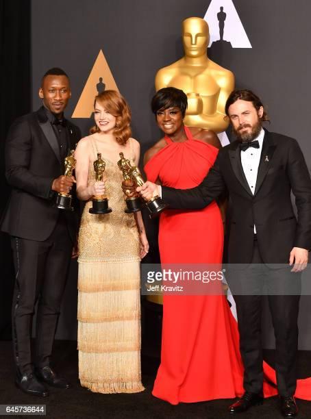 Actors Mahershala Ali winner of Best Supporting Actor for 'Moonlight' Emma Stone winner of Best Actress for 'La La Land' Viola Davis winner of the...