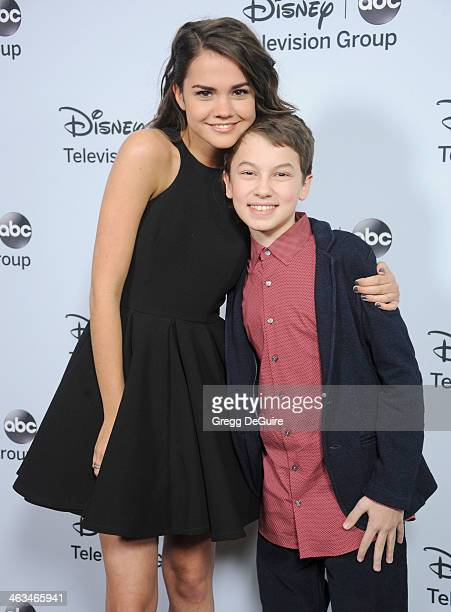 Actors Maia Mitchell and Hayden Byerly arrive at the ABC/Disney TCA Winter Press Tour party at The Langham Huntington Hotel and Spa on January 17...