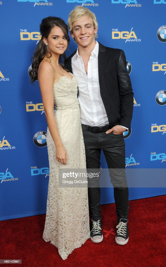Actors Maia Mitchell and Ross Lynch arrive at the 66th Annual Directors Guild Of America Awards at the Hyatt Regency Century Plaza on January 25, 2014 in Century City, California.