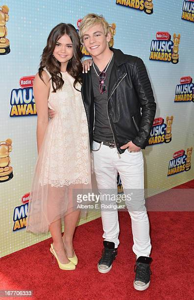 Actors Maia Mitchell and Ross Lynch arrive to the 2013 Radio Disney Music Awards at Nokia Theatre LA Live on April 27 2013 in Los Angeles California
